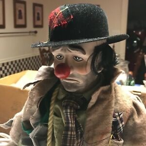"vintage CLYDE THE HOBO CLOWN 20"" porcelain Dynasty Doll"