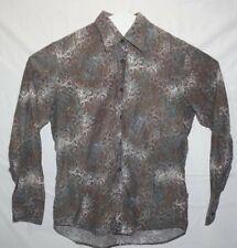 Hugo Boss Mens Large 54% Silk Brown Peacock Design Button Up Dress Shirt