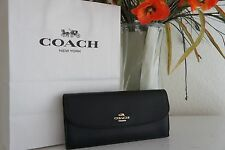 NWT COACH F59949 F54008  BLACK CROSS GRAIN LEATHER SOFT WALLET