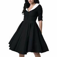 Unique Retro/Vintage Style 1950s Black with White Collar Button Swing Dress S 🖤