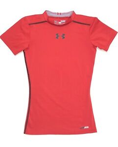 Under Armour Kids Fitted Hear Gear Short Sleeve Mock Neck Red Size Youth Small