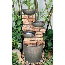 SS1083 -  Stacked Bricks Cascading Garden Fountain w/Pump & LED Light Kit!