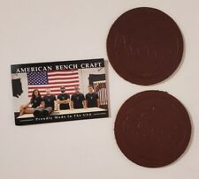 Lot of (2) Rustic Leather Coasters by American Bench Craft