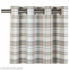 Galloway Check Duck Egg Lined Eyelet Curtains 66 X 72 Lounge Bedroom Curtina