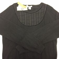 Vertical Design Black Womens Size XL 2 Ply Cashmere Sweater NWT