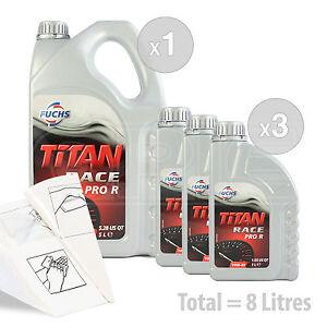 Car Engine Oil Service Kit / Pack 8 LITRES Fuchs Titan Race Pro R 10W-40 10W40