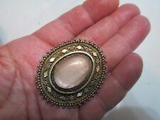 Vtg Israel 935 Silver Gold Plated Rose Quartz Gem Pin Brooch Pendant