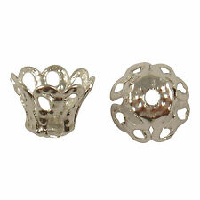 50 Silver Plated Flower Dome Filigree Bead Caps 7x10mm