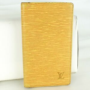 Auth LOUIS VUITTON AGENDA POCHE Notebook Cover Epi Leather R20529 Yellow