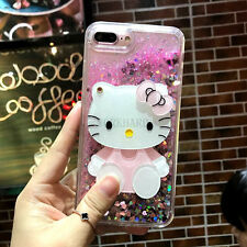Cute Bunny Kitty Mirror Bling Flowing Liquid Love Glitter Soft Strap Case Cover