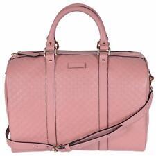 New Gucci Pink Leather 449646 Micro GG Guccissima Boston Bag Satchel W/Strap