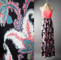 Psychedelic Exotic Funky Print 70s Bright Neon Tube Long Maxi 132 mv Dress S M L