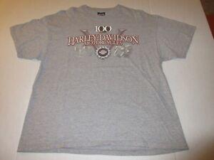 Harley Davidson 100th Anniversary T-Shirt Gray Men's Size XL