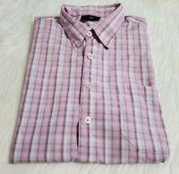 Gino Lussari Men Sz Large Pink Purple Plaid Button Down Shirt Short Sleeve P-16