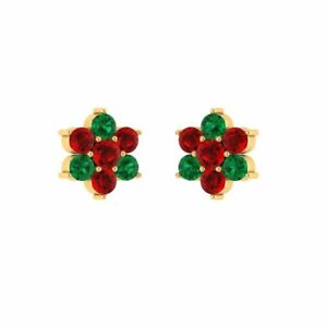 Flower Stud 0.20 Ct Red Ruby and Green Emerald 14k Yellow Gold Silver Earrings