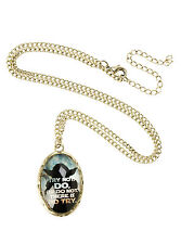 """Star Wars Jedi YODA """"TRY NOT DO or DO NOT"""" Quote Oval Cameo Charm Necklace NEW"""