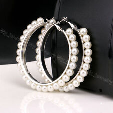 Womens Jewelry Dangle Drop Earrings Imitation Pearl Silver Gold Plated Ladies