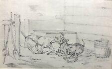 HENRY THOMAS ALKEN - Original Antique Pencil Sketch Drawing of Hunting Dog Fight