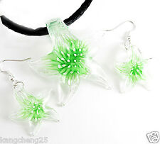 Hot Green/Clear Lampwork Glass Starfish Pendant Necklace Earrings Set gh1133