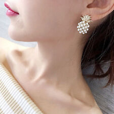 """Pineapple Pearl Pop Stud Earring Gold Plated 1.5"""" Women new in gift bag"""