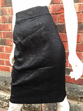 BNWOT designer pencil skirt WAYNE COOPER sz3/12 black snakeskin pinup rockabilly