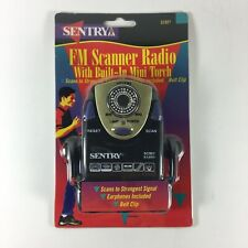 SENTRY SC801 FM Scanner Radio with Built in Flashlight,Belt clip with Earphones.