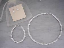 10a Pearl Necklace Bracelet & Earrings Set Child Ladies Flower girl Communion