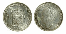 pcc1842_10) Netherlands  Wilhelmina - 2 1/2  Gulden 1940  Silver - SIGNS