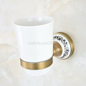 Antique Brass Wall Mounted Bathroom Toothbrush Holders Single Ceramic Cup Lba811