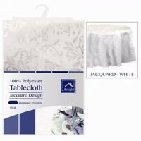 New Damask Floral White Jacquard Tablecloth Oval Table Cloth Tableware Dining