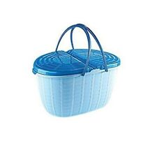 Traditional Picnic Plastic Wicker Style Hamper Willow Basket With Handles & Lid