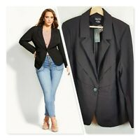 [ CITY CHIC ] Womens Black Twist Interest Jacket NEW   | Size M or AU 18 / US 14