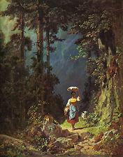 Mädchen mit Ziege Carl Spitzweg barfuss Landschaftsbild steinig Bütten H A3 0524
