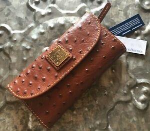 DOONEY & BOURKE~Ostrich Collection Continental Clutch Wallet~STUNNING COGNAC~NWT