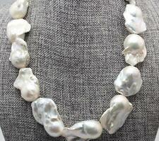 """Huge 18""""22-35mm natural south sea genuine white baroque pearl necklace 14k"""