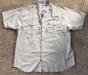 NEW with tags COLUMBIA PFG BONEHEAD Men's XL SS Fishing Shirt Tan Brown Frat
