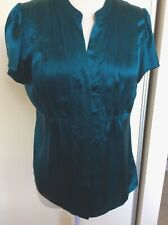 Gorgeous 100% Silk Summer  Top - Forever New Sz14  Button Up ,Short Sleeves