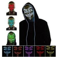 LED El Light Up Mask V for Vendetta Anonymous Guy Fawkes Costume Cosplay Props