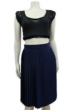 NWT American Apparel Navy pleated Chiffon Knee length Skirt $54 size L