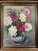 "Vintage Vandegrift  ""Still Life With Flowers Scene"" Oil Painting - Signed/Framed"