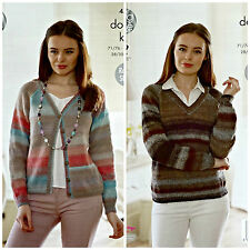 Knitting Pattern Donna facile Lavorato A Maglia Scollo a V Cardigan & Maglione Sprite DK 4573