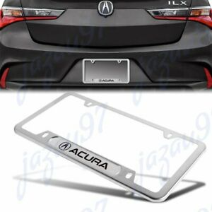 1PCS For ACURA MDX RDX TSX TL Silver Metal Stainless Steel License Plate Frame