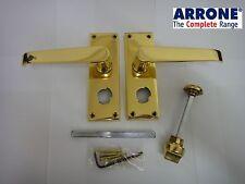 ARRONE VICTORIAN STRAIGHT LEVER LOCKABLE BATHROOM PRIVACY HANDLES POLISHED BRASS
