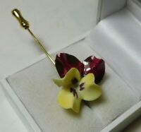 British Vintage Painted Bone China Stick Pin Red Yellow Pansy Gold Brooch