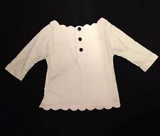 Womens - JILL STUART - Mlle. Lace Stencil Collar & Hem Big Button Shirt Blouse S