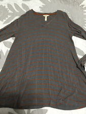 Matilda Jane Wind Song Tunic Top Shirt Grey Orange Striped Size Large L