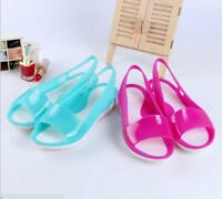 Women's summer beach flat sandals open toe Jelly hollow smooth soft roma shoes