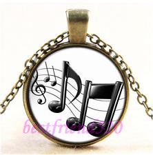 Vintage Black Music Note Photo Cabochon Glass Bronze Chain  Pendant Necklace#CD2