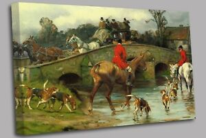 Over the Bridge Fox Hunting  Canvas Wall Art Picture Print