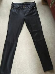 £200 7 For All Mankind Skinny Womens Jeans leggings Black Leather-Look W28 Uk10